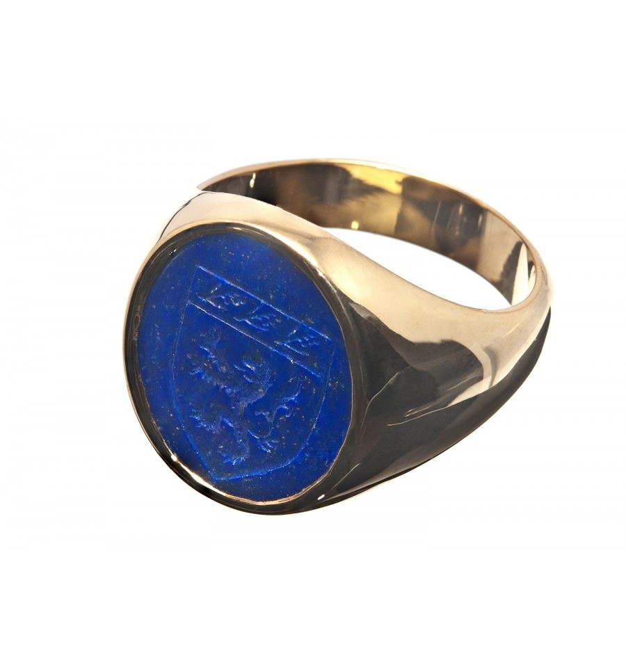 Lapis Heraldic Shield Gold Plated Sterling Silver Family