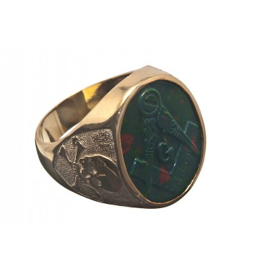 Bloodstone Masonic & Skull and Crossbones Gold Plated Sterling Silver Stone Ring
