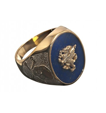 Lapis Griffin & Skull and Crossbone Gold Plated Sterling Silver Man's Ring