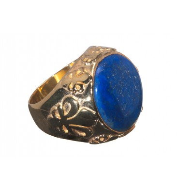 Lapis CabochonFleur De Lys Gold Plated Sterling Silver Family Crest Ring