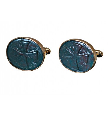 Bloodstone Sculpted Templar Cross Cuff Links Gold Plated Silver