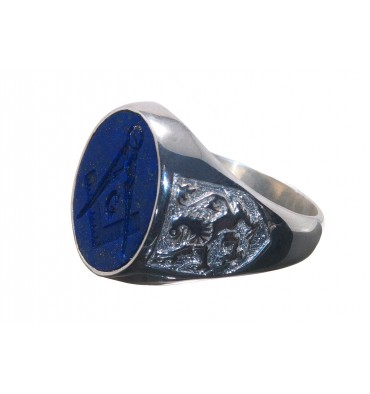 Lapis Lazuli Lion of Scotland Masonic Sterling Silver Ring