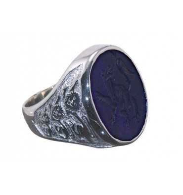 Amethyst Engraved Heraldic Lion Sterling Silver Signet Ring
