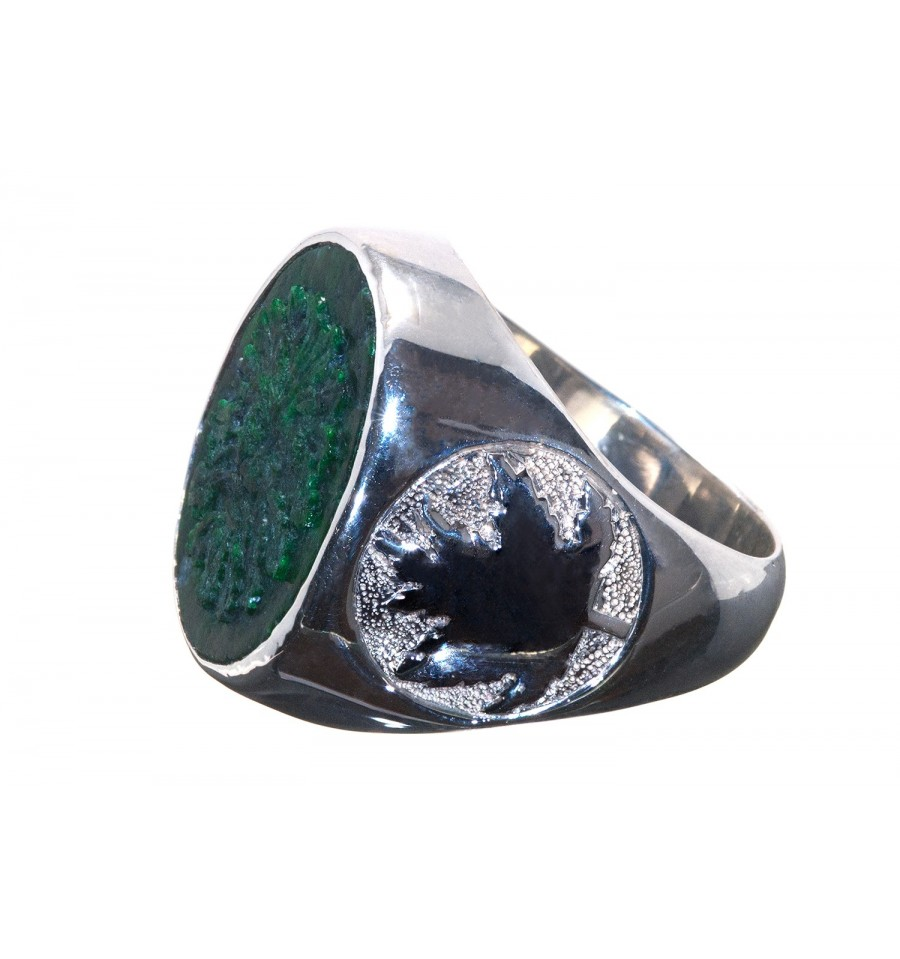 Jade Albite Greenman Maple Leaf Sterling Silver Stone Ring