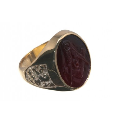 Red Agate Masonic Lion of Scotland Gold Plated Sterling Silver Man's Stone Ring