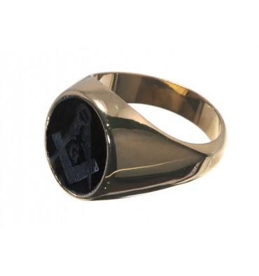 Black Onyx Set Square & Compass Gold Plated Sterling Silver Mason's Ring