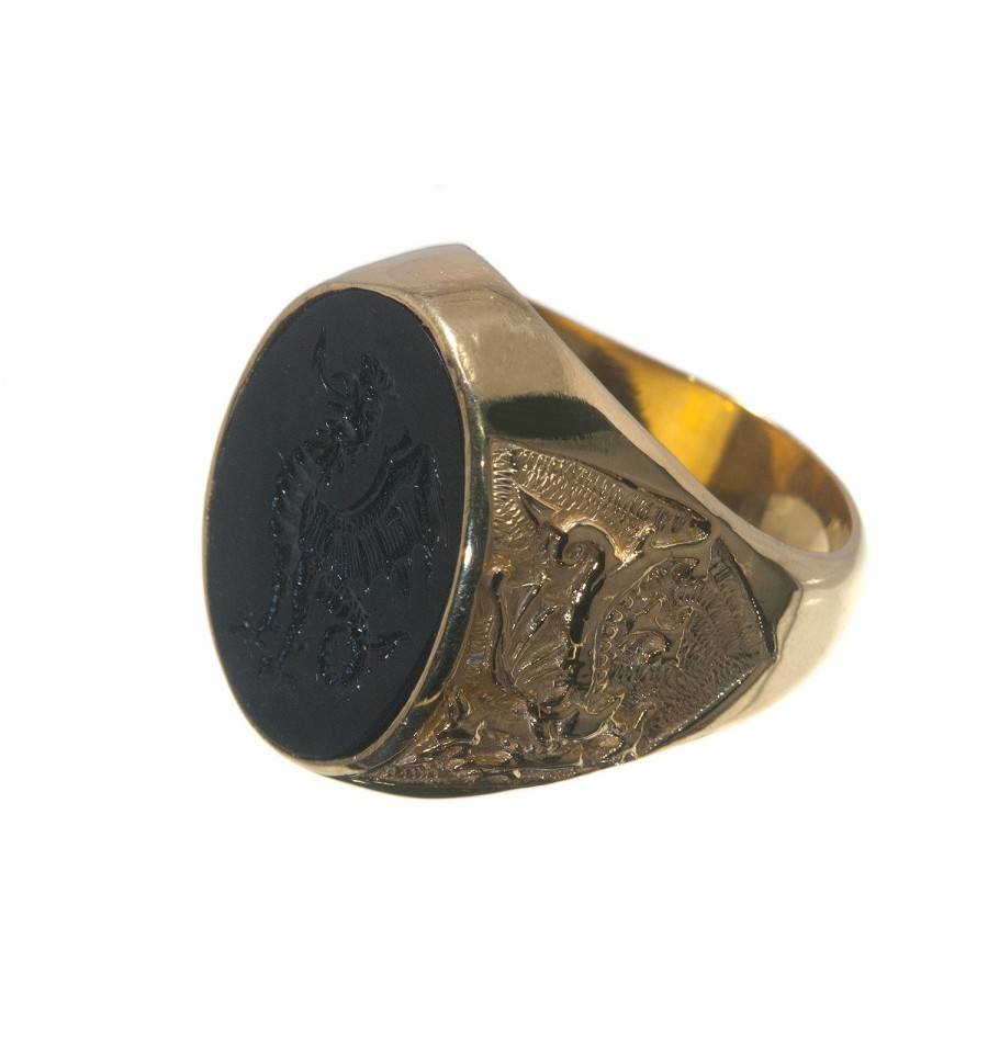 black onyx cockatrice gold plated sterling