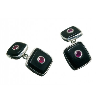 Black Onyx and Ruby Square Double Cuff Links Sterling Silver
