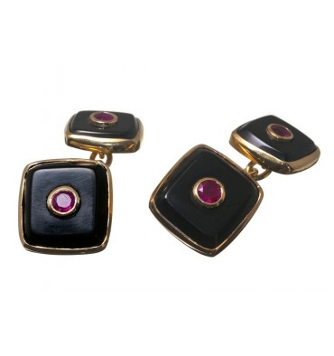 Black Onyx and Ruby Square Double Cuff Links Gold Plated