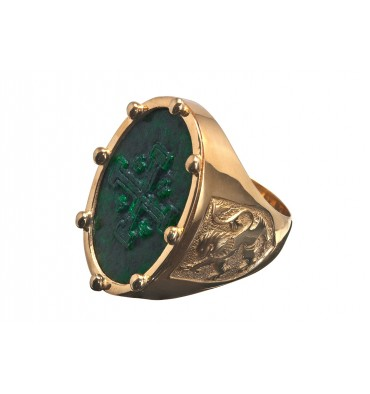 Jade Albite Large Gold Plated sterling Silver Scottish Lion & Jerusalem Cross Ring