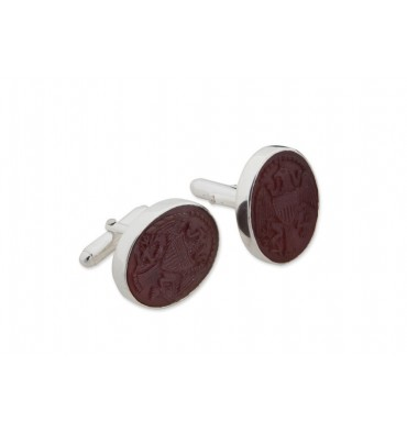 Red Agate Seal of Office Cufflinks - Sterling Silver