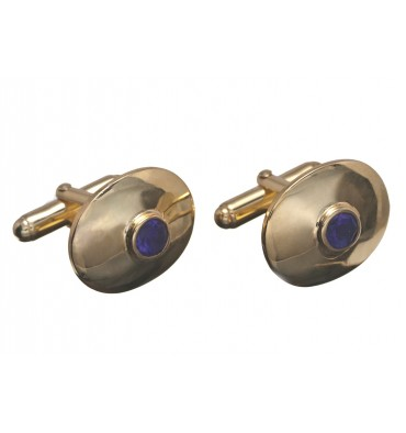 Amethyst Faceted Gemstone Cufflinks-Gold Plated Sterling Silver