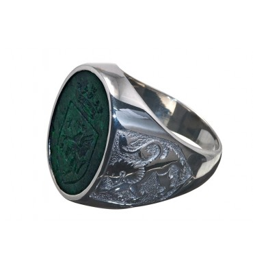 Jade Celtic Shield & Lion of Scotland Sterling Silver Family Crest Ring
