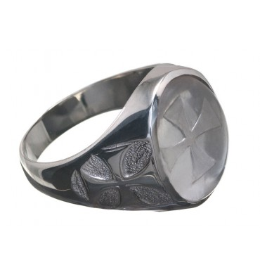 Rock Crystal Templar Cross Sterling Silver Ring