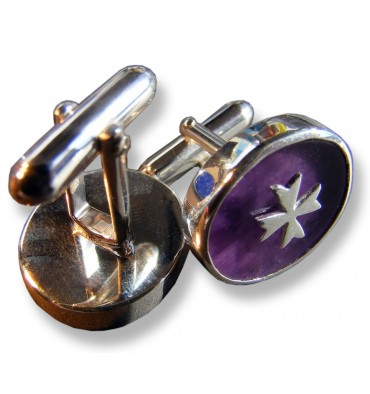 Amethyst Knights Templar Cross Swivel Cufflinks-SterlingSilver