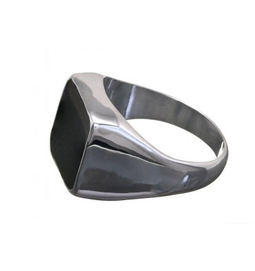 Black Onyx Square Sterling Silver Ring.