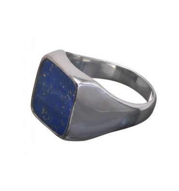 Lapis Lazuli Square Gemstone Sterling Silver Ring