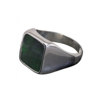 Jade Albite Square Sterling Silver stone Ring