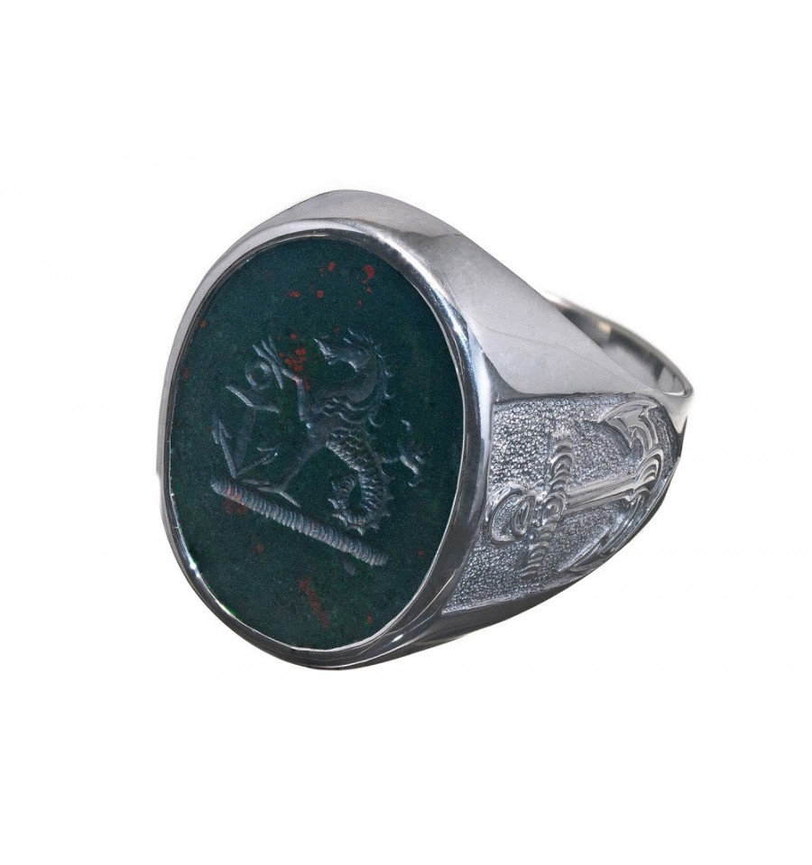 Bloodstone And Sterling Silver Nautical Family Crest Ring