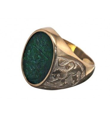 Jade Gold Plated sterling Silver Lion of Scotland & Celtic Family Crest Ring