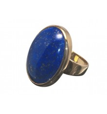 Lapis Large Cabachon Gold Plated Silver Ring