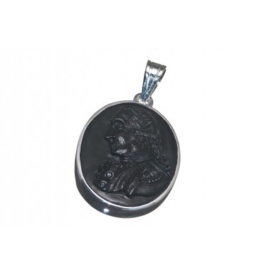 Black Onyx George Washington Sterling Silver Pendant