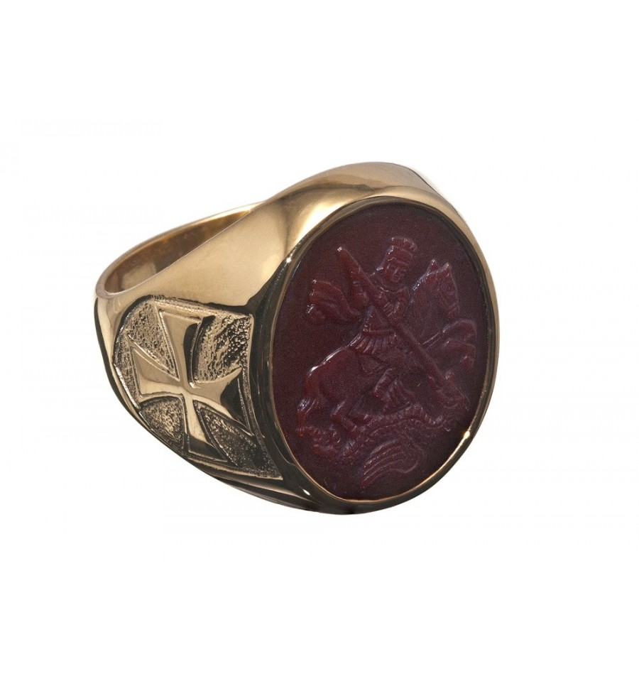 Red Agate St George Gold Plated Sterling Silver Templar