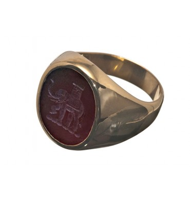 Red Agate Gold Plated Sterling Silver Elephant Family Crest Engraved Ring