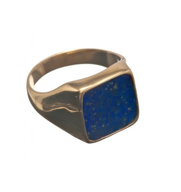 Lapis Lazuli Gold Plated Sterling Silver Square Gemstone Ring