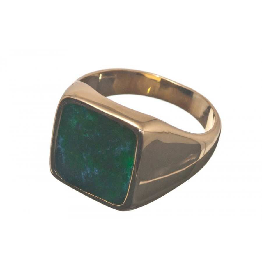 Jade Albite Square Gold Plated Sterling Silver Ring Regnas Jewelry