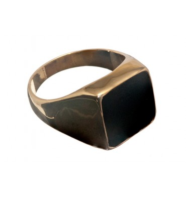 Black Onyx Square Stone Gold Plated Silver Ring