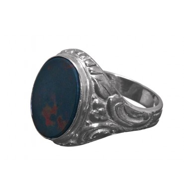 Bloodstone Edwardian Style Sterling Silver Ring