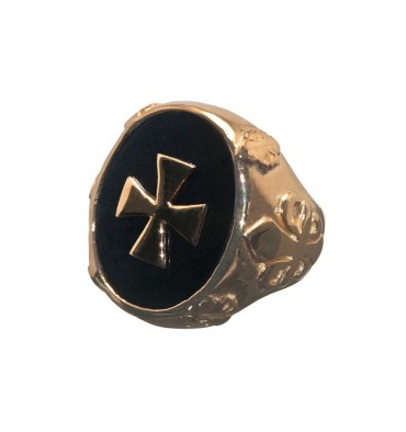 Black Onyx Gold Plated Sterling Silver Fleur De Lys And