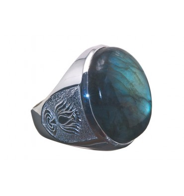 Labradorite Large Sterling Silver Lotus Flower Round Ring