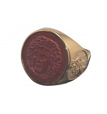 Red Jasper Greek Sun God & Owl Gold Plated Sterling Silver Round Ring