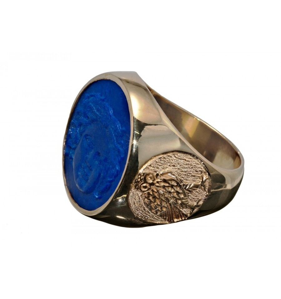 Lapis Greek Sun God Amp Owl Gold Plated Silver Round Ring Regnas Jewelry