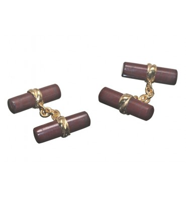 Red Jasper Deluxe Double Cufflinks - Gold Plated Silver