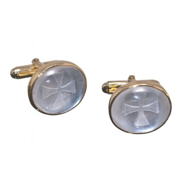 Rock Crystal Knights Templar Cuff Links - Gold Plated Silver