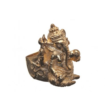 Ganesh Ring Gold Plated Sterling Silver
