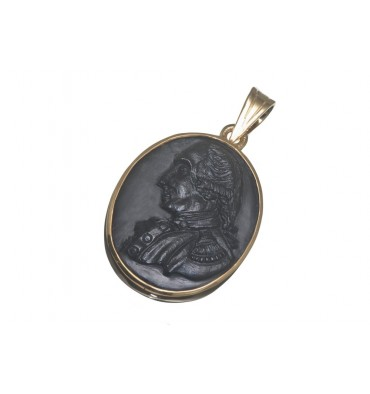 Black Onyx Washington Gold Plated Silver Pendant