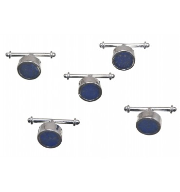 Lapis Lazuli Set of 5 Shirt Studs - Sterling Silver