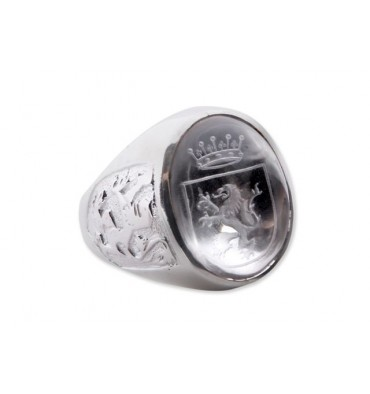Rock Crystal Lion & Crown with Lions of Scotland Sterling Silver Heraldic Ring