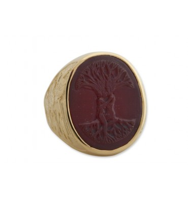 Red Agate Tree of Life 3 Lions Bezel Ring - Gold Plated
