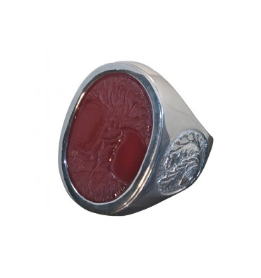 Red Agate Tree of Life Ring Oak Leaf Sterling Silver Stone Ring