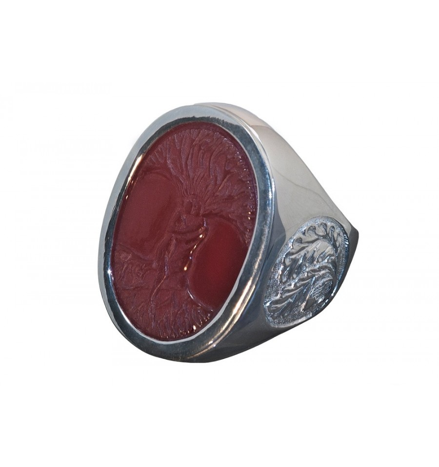 Red Agate Tree Of Life Ring Oak Leaf Sterling Silver Stone