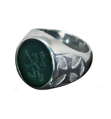 Dark Green Jade Lion Rampant & Templar Cross Sterling Silver Round Signet Ring