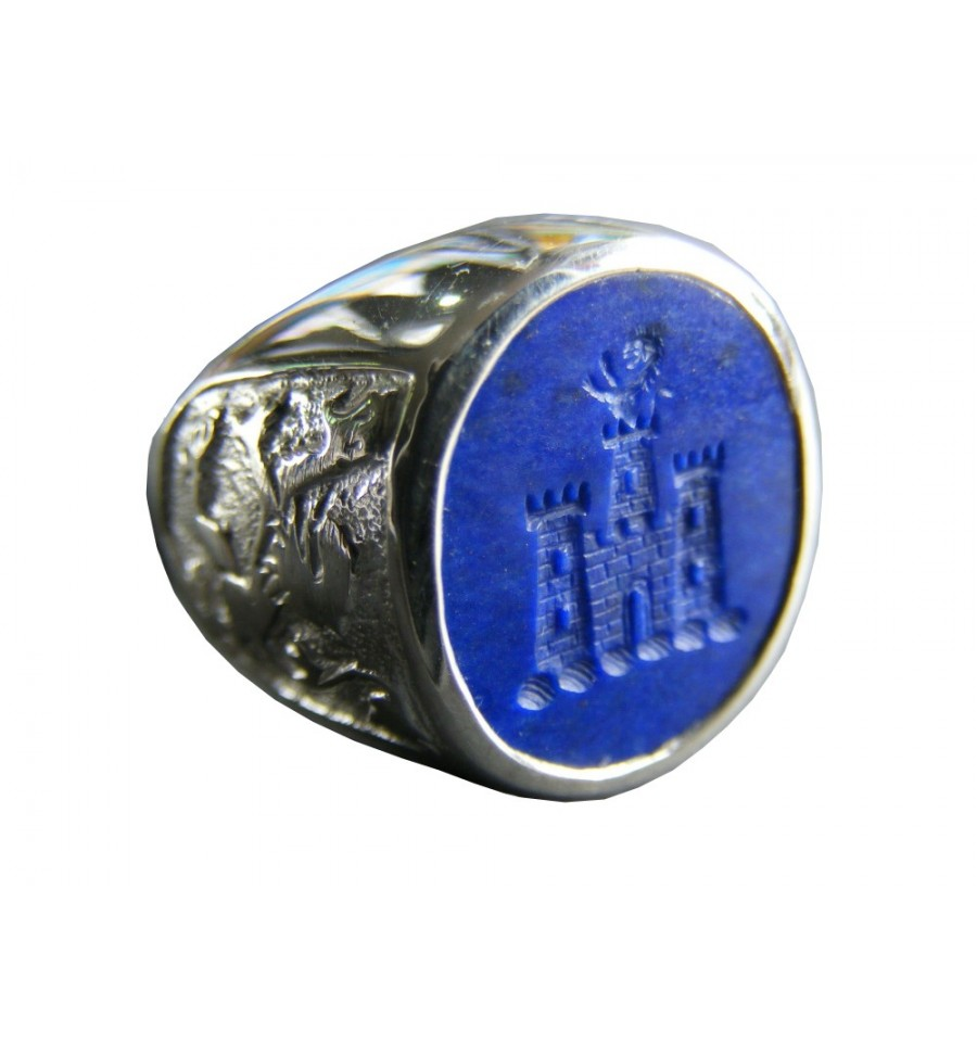Lapis Lion And Castle With Rampant Lion Sterling Silver