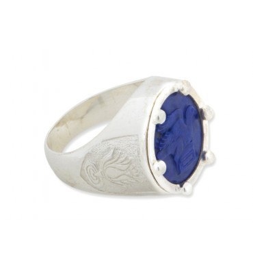 Lapis lotus flower with greek bird and book silver round ring lapis lotus flower with greek bird and book silver round ring mightylinksfo