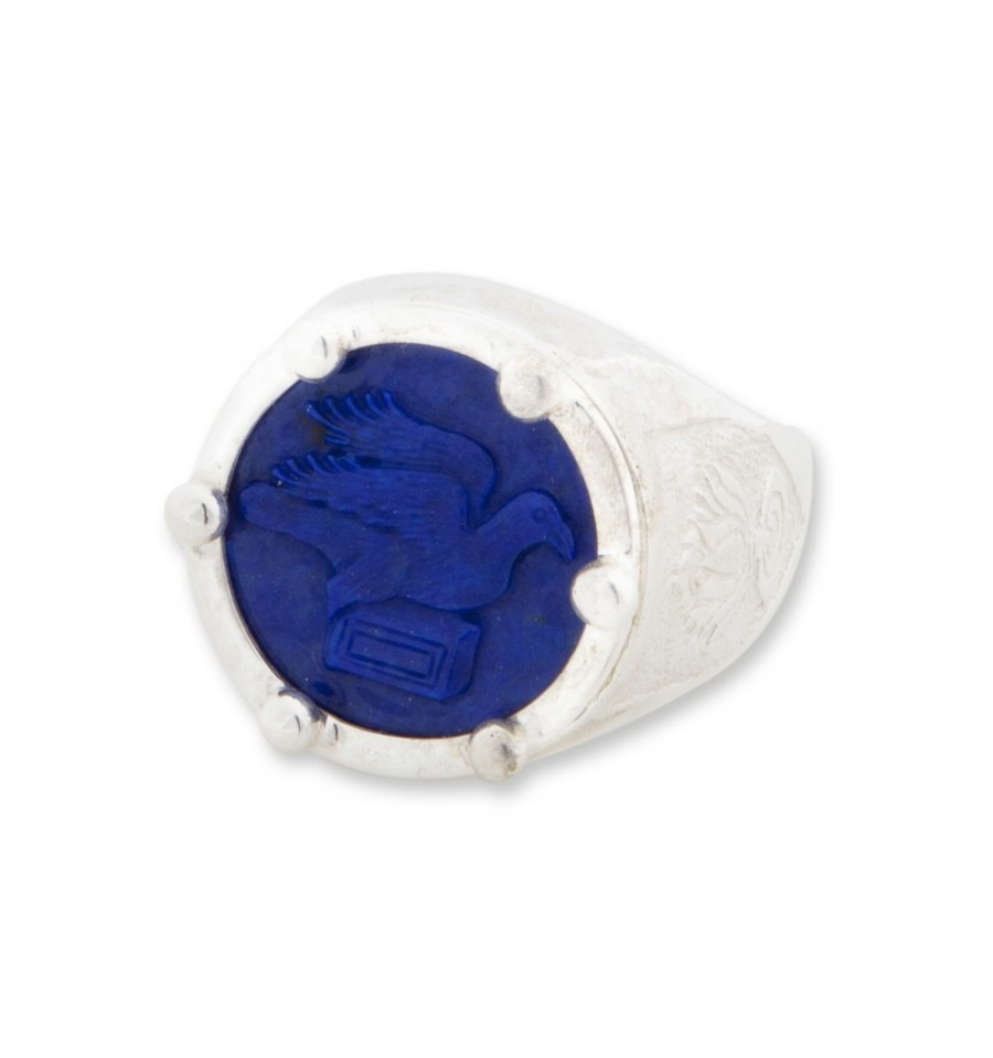 Lapis Lotus Flower With Greek Bird And Book Silver Round Ring