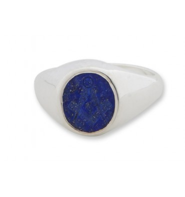 Lapis Set Square & Compass Sterling Silver Mason's Ring
